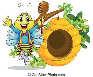 miele, felice, bastone, presa a terra, ape