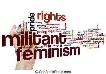 militante, parola, femminismo, nuvola