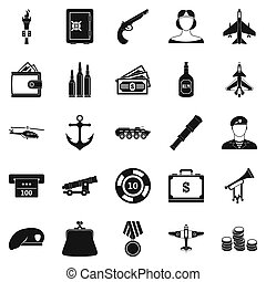 militante, set, stile, icone semplici