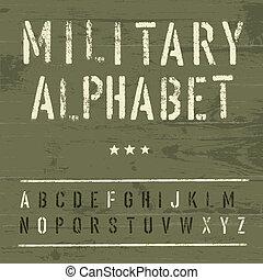 militare, eps10, vettore, alphabet., vendemmia