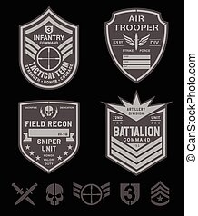 militare, set, forze speciali, pezza