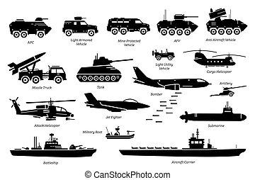 militare, trasporto, macchina, set., veicoli, icona, combattimento