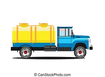 milk., serbatoio, illustration., automobile, consegna, vettore, retro, truck.