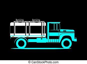 milk., serbatoio, illustration., automobile, immagine, consegna, vettore, retro, schematico, truck.