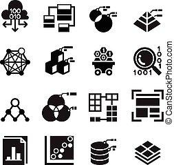 minerario, set, trasferimento, analisi, 2, magazzino, tecnologia, dati, icona