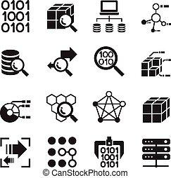 minerario, set, trasferimento, analisi, magazzino, tecnologia, dati, icona