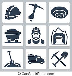 minerario, vettore, set, isolato, icone