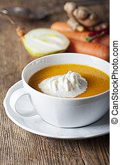 minestra, bianco, carota, ciotola