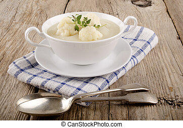 minestra, bianco, ciotola, cavolfiore