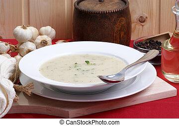 minestra, bianco, ciotola, cavolfiore, crema