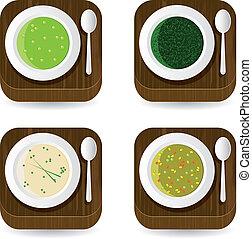 minestra, domanda, icone