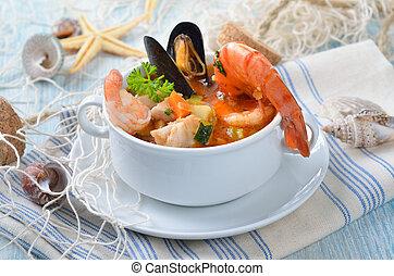 minestra, fish, delizioso