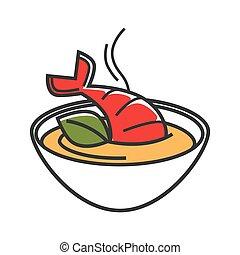 minestra, illustrazione, isolato, crema, ciotola, fatto, aragosta
