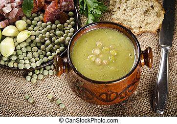 minestra, pisello