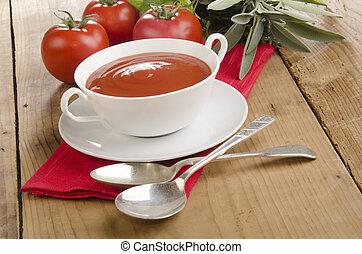 minestra pomodoro, bianco, ciotola