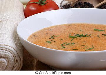 minestra pomodoro, bianco, ciotola, crema