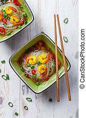 minestra, tailandese, tagliatelle, gamberetto