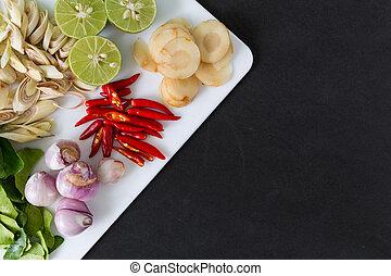 minestra, tailandese, tom, yum, ingredienti