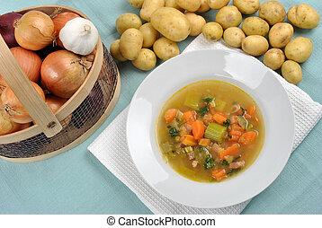 minestra verdura, bianco, ciotola, delizioso