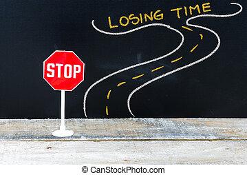 mini, fermi segnale, tempo, perdere, strada