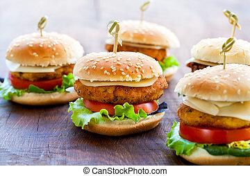 mini, legno, hamburger, appetitoso, pollo, surface.