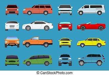 mini, set, supercar., icone, automobile, coupe, veicolo, sala esposizione, tipo, ruota, appartamento, automobilistico, simbolo, campeggiatore, collezione, oggetti, traffico, tipi, hatchback., automobile, multicolor, vettore, minivan, modello