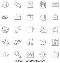 minimalista, bianco, set, icona