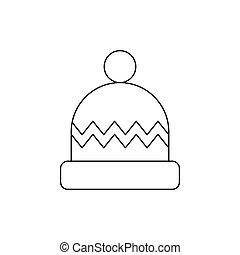minimalista, vacanze, style., inverno, vettore, icona, linea, decorations., pompon, art., attività, berretto, lavorato maglia