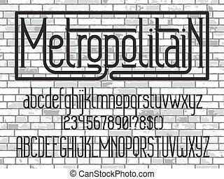 minimalistic, font., carattere tipografico, metropolitain