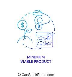 minimo, prodotto, viable, icona, blu, pendenza, concetto
