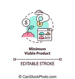 minimo, prodotto, viable, icona, concetto