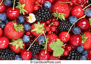 mirtilli, ciliegie, bacca, fondo, frutte, fragole