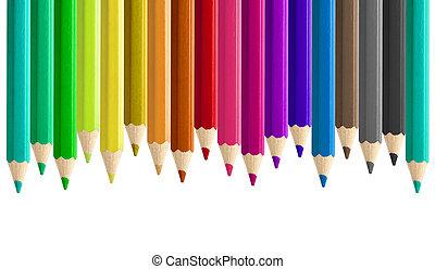 misaligned, set, matite, seamless, isolato, colorato, lato