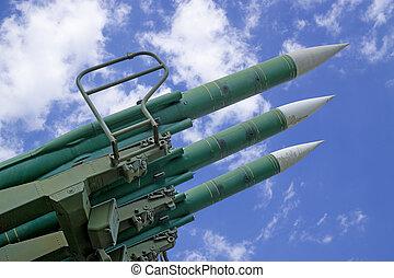 missili, cielo, fondo