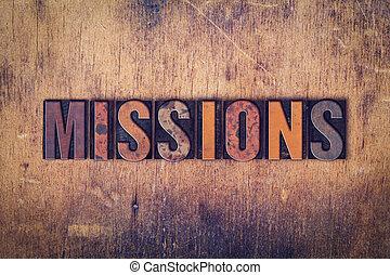 missioni, legno, tipo, concetto, letterpress