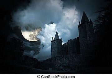 misterioso, castello, medievale
