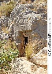 misterioso, caverna, entrata