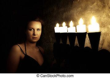 misterioso, donna, giovane, ritratto, castello, scuro