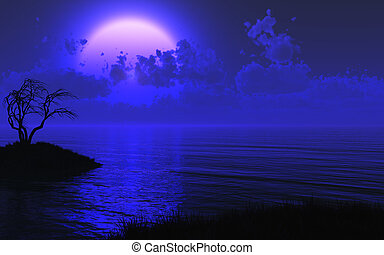 misterioso, illuminato dalla luna, mare, fondo