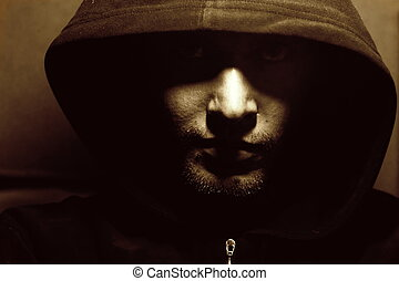 misterioso, immagine, monaco