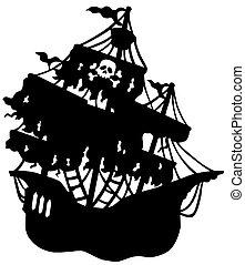 misterioso, nave, silhouette, pirata