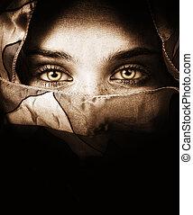 misterioso, occhi, donna, sensuale