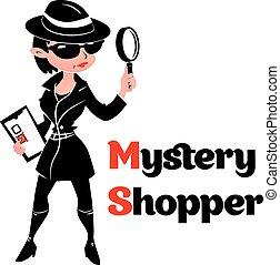 mistero, spia, donna, acquirente, cappotto, nero, bianco