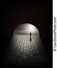 mistero, tunnel, uomo