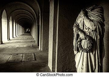 mistico, pietra, corridoio, antico