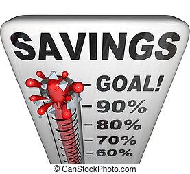 misurazione, soldi, aumento, risparmi, termometro, nestegg