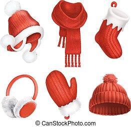 mitten., vettore, inverno, clothes., lavorato maglia, sock., hat., scarf., 3d, earmuffs., natale, icona