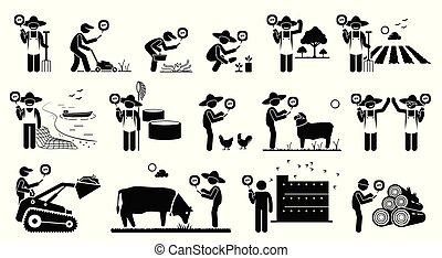 mobile, agricoltura, lavorante, industria, loro, telefono., usando, tecnologia, app, far male