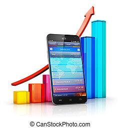 mobile, analytics, concetto, finanza, affari
