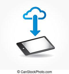 mobile, app, telefono, vettore, nuvola, icona